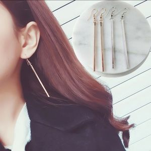 Silver and Gold Drop Bar Dangle Earrings